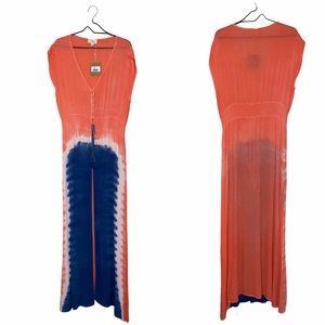 NWT Love Tie Dye Open Front Maxi Coverup Large